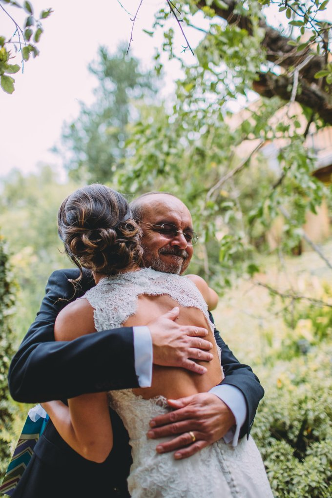 father's day gift ideas, dad hugging bride on wedding day